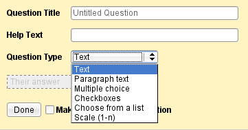 Supported question types in Google Forms